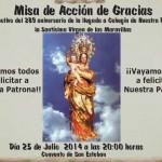 Cartel Misa acción de gracias Virgen de las Maravillas aniversario llegada